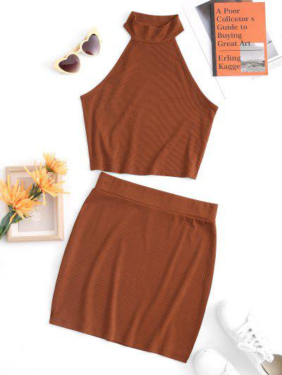 Ribbed High Neck Bodycon Skirt Set - Coffee L