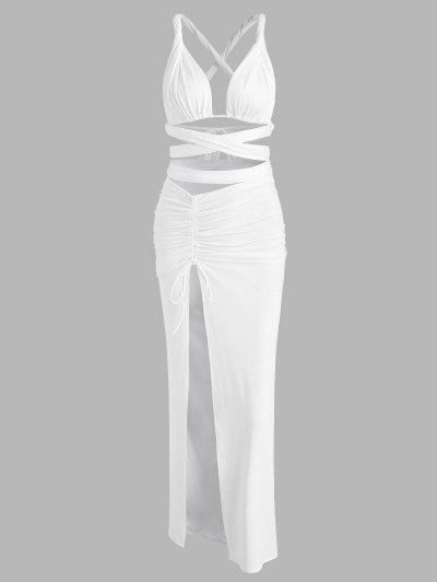 Midriff Flossing Jersey Ruched Slinky Slit Two Piece Dress - White S