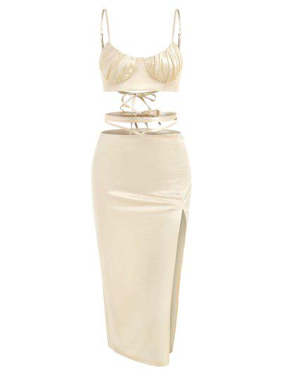 Sheeny Lace-up Bustier Top And Midriff Flossing Slit Skirt Set - Golden S