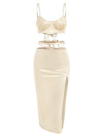 Gleny Lace-up Bustier Top Und Midriff Flosding Slit Rock Set - Golden L
