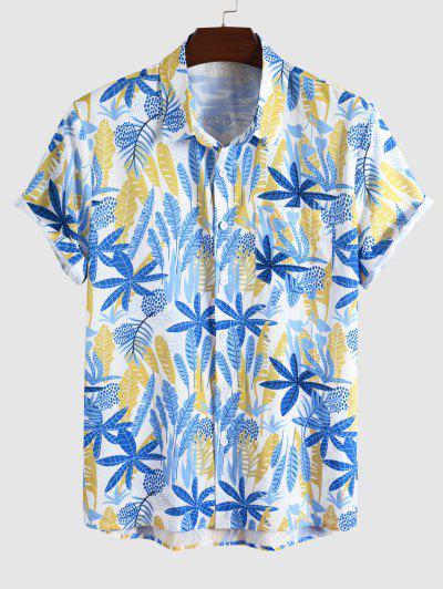 Tropical Leaf Print Vacation Shirt - Blue Xxl