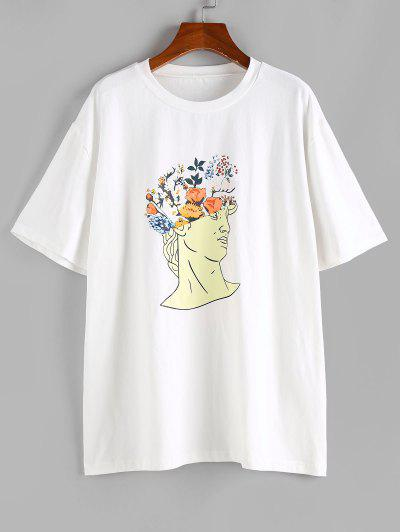 ZAFUL Figure Letter Floral Graphic Funny T-shirt - White M