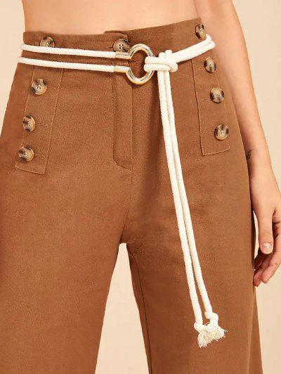 Double Rope Knot Casual Waist Belt - Warm White