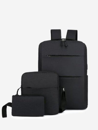 Minimalistic Multi Compartment Backpack With Two Small Bag - Black
