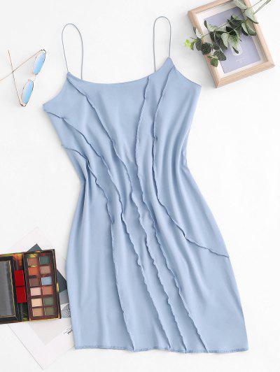 Thin Straps Exposed Seam Asymmetrical-hem Slinky Mini Dress - Light Blue S