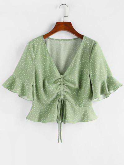 ZAFUL Polka Dot Cinched Flare Sleeve Peplum Blouse - Light Green Xl