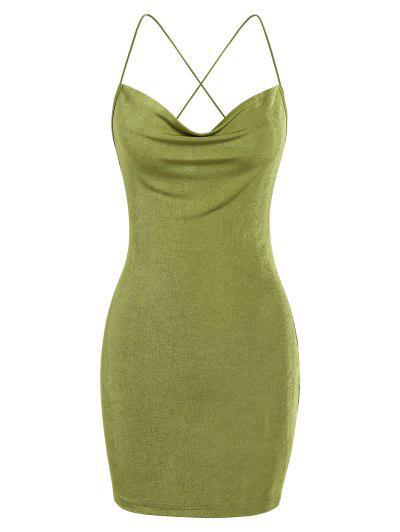 ZAFUL Crisscross Cowl Neck Mini Bodycon Dress - Light Green M
