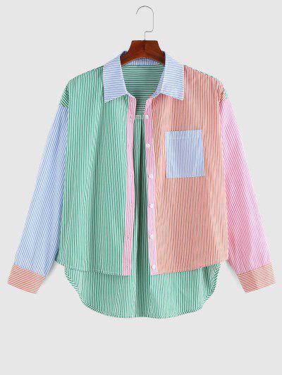 ZAFUL Camisa Asimétrica Rayas Con Bolsillo - Multicolor S