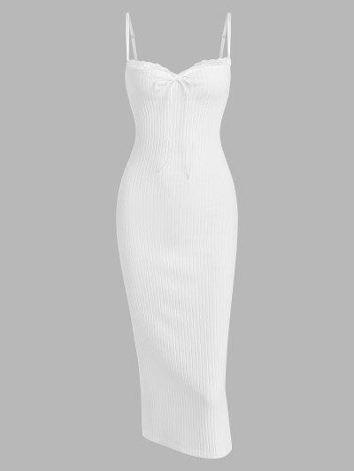 Lace Trim Ribbed Ruched Tie Collar Slinky Dress - White S