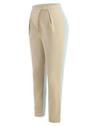 Colorblock High Waisted Tailored Pants - Light Yellow L