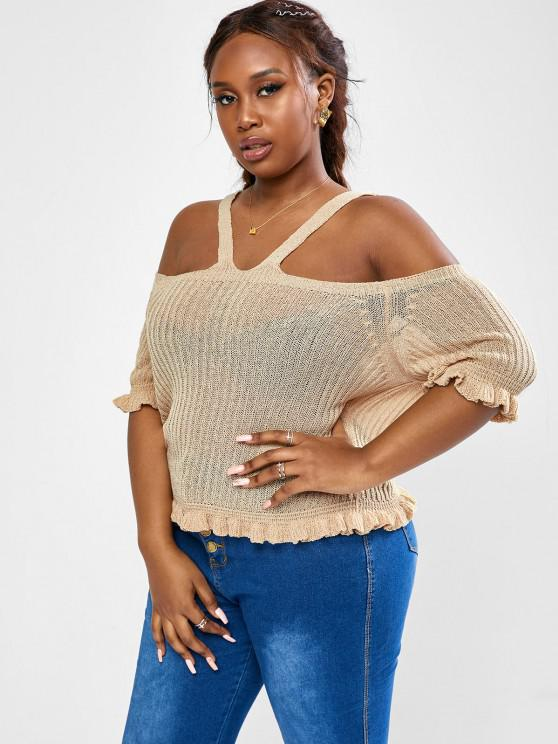 hot ZAFUL Plus Size Knit Frilled Open Shoulder Top - LIGHT COFFEE 3XL