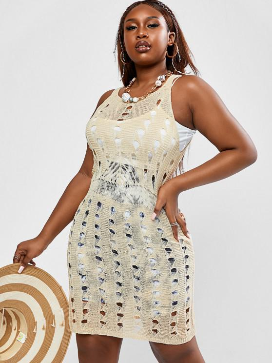 outfit ZAFUL Plus Size Openwork Knit Beach Dress - LIGHT COFFEE L