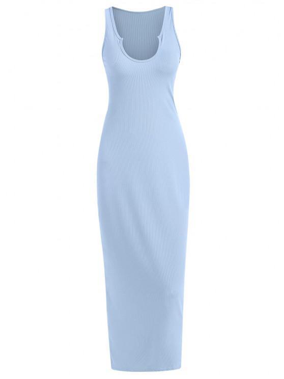 unique Ribbed V-notch Slinky Racerback Maxi Tank Dress - LIGHT BLUE S