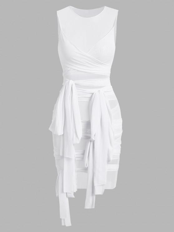 latest Sheer Mesh Wrap-tie Slinky Bandage Dress - WHITE L