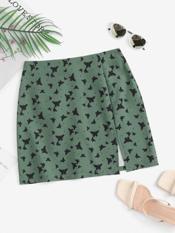 Mini Falda con Estampado de Mariposa en Dobladillo - Verde M