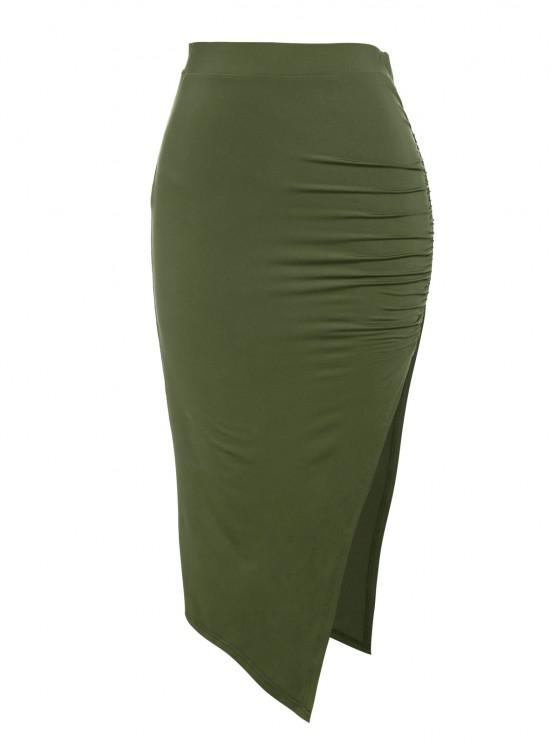 latest ZAFUL Ruched Thigh Split Bodycon Skirt - DEEP GREEN S