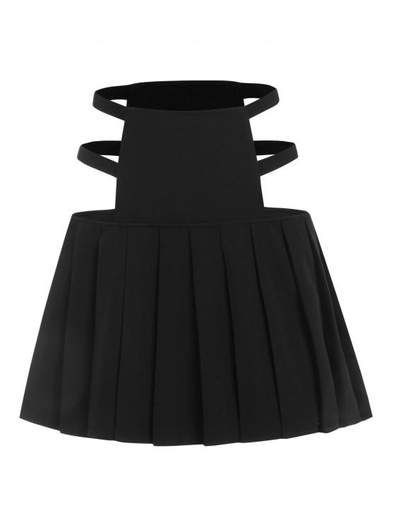 ladies ZAFUL Cutout Pleated Mini Skirt - BLACK S