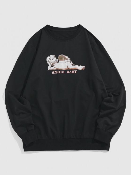 ZAFUL Angel Baby Pattern Sweatshirt - أسود M