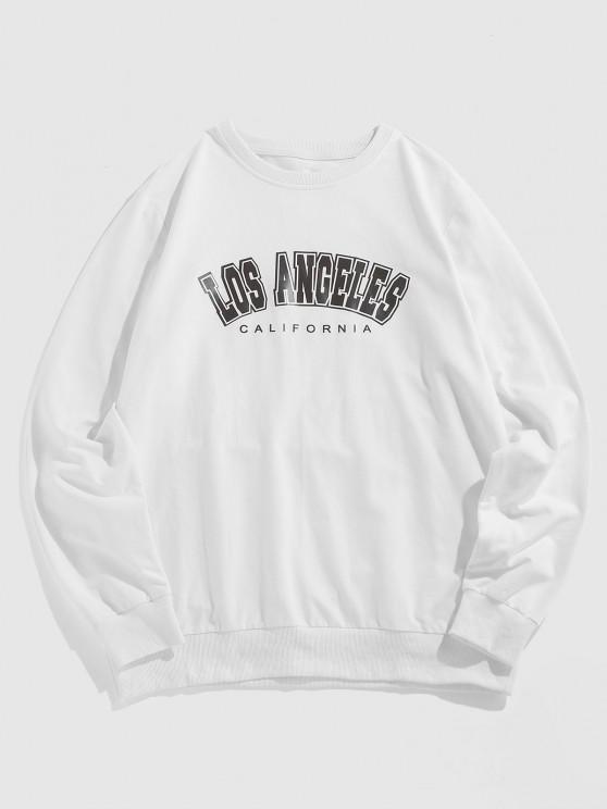 ZAFUL Los Angeles California Print Sweatshirt - أبيض L