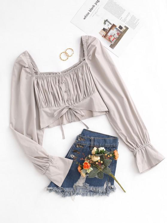 shops Cropped Square Collar Ruched Long Sleeve Blouse - LIGHT COFFEE L