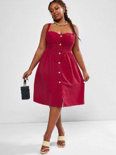 ZAFUL Plus Size Swiss Dot Button Up Bustier Dress - Deep Red Xl