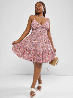 ZAFUL Plus Size Ditsy Floral Print Smocked Back Flare Sundress - Light Pink L