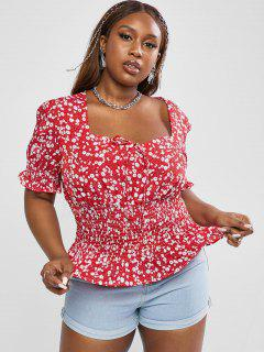ZAFUL Plus Size Ditsy Print Smocked Detail Puff Sleeve Blouse - Red 3xl
