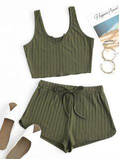 V-notch Wide Rib Tank Top And Drawstring Shorts Set - Green M
