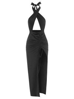 Halter Crossover Ruched Thigh-split Cutout Slinky Maxi Dress - Black M