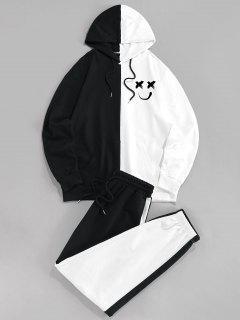 ZAFUL Front Pocket Contrast Hoodie And Pants Set - Black L