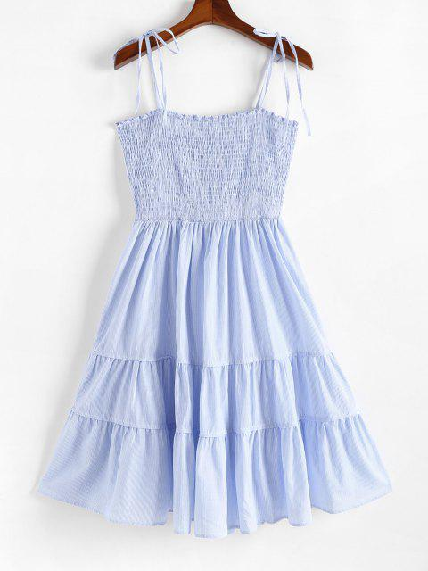 Vestido en Gradas a Rayas Lazo Al Hombro con Lazo - Azul Claro XL Mobile