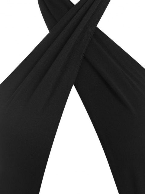 Maxi Vestido Fruncido de Cuello Halter con Detalle Escotado Cruzado - Negro S Mobile