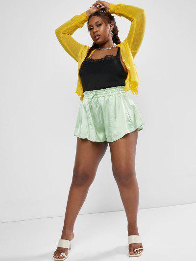 ZAFUL Plus Size Lace Trim Wide Rib Knit Tank Top - Black Xl