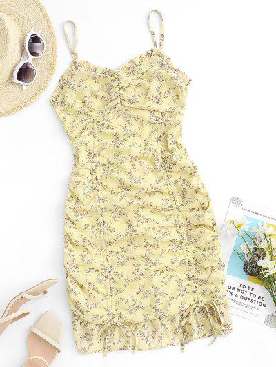 Ditsy Print Ruffle Cinched Ruched Slinky Sundress - Light Yellow M