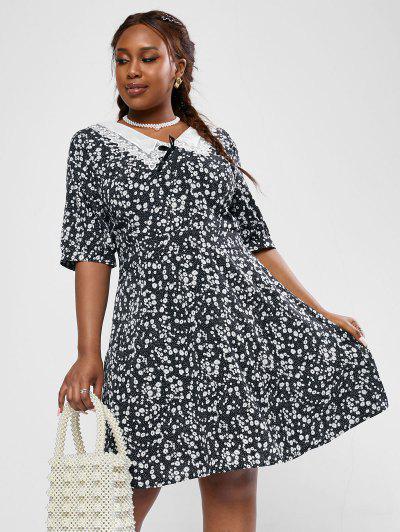 ZAFUL Plus Size Ditsy Print Organza Flat Collar Dress - Black L