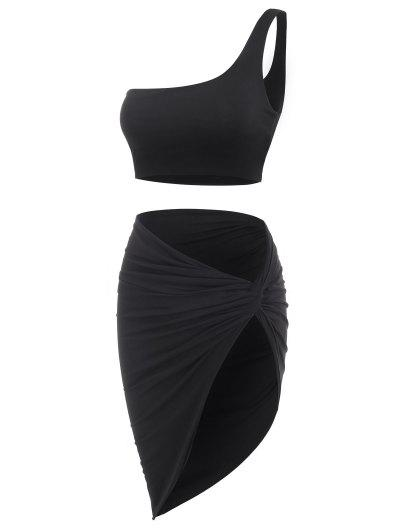 Double-layered One Shoulder Top And Twist Asymmetrical Skirt Set - Black M