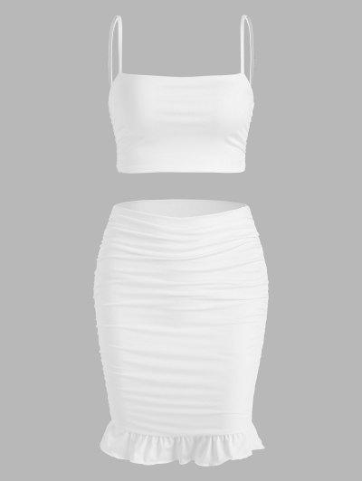 Double-layered Ruched Ruffle Slinky Two Piece Dress - White L