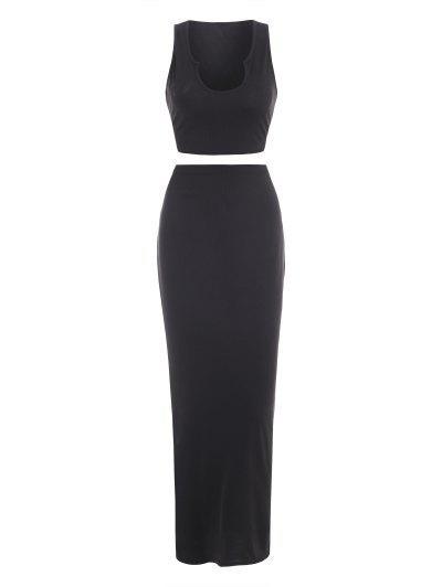 Rib-knit V-notch Slinky Maxi Two Piece Dress - Black M