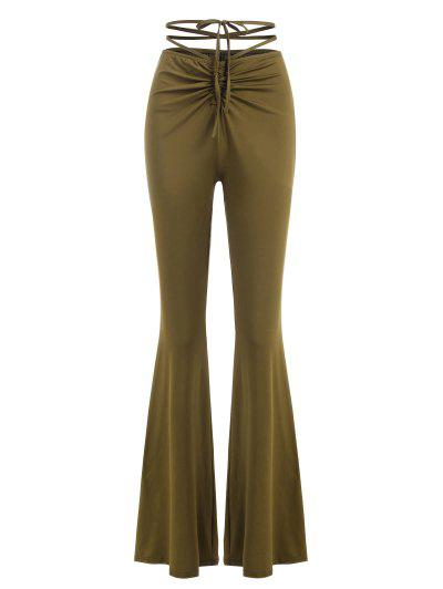 Cinched Ruched Midriff Flossing Jersey Flare Pants - Green M