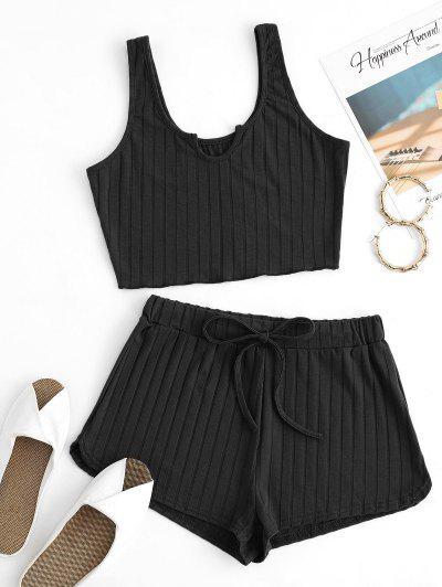 V-notch Wide Rib Tank Top And Drawstring Shorts Set - Black Xs