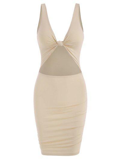 Mini Vestido Grueso Recortado Con Nudo - Café Luz M
