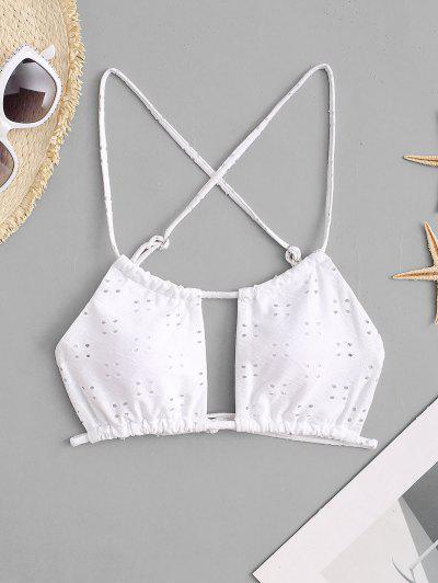 ZAFUL Broderie Anglaise Cutout Criss Cross Bikini Top - White L