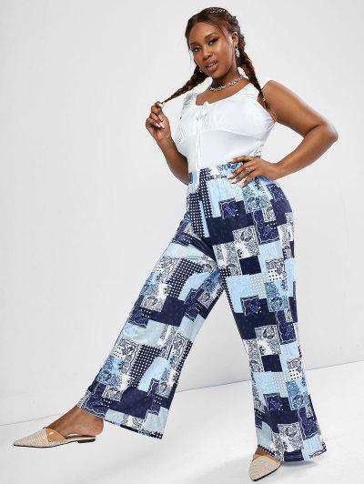 ZAFUL Top Pantalones Talla Grande Acanalado Estampado De Alces - Azul Profundo L