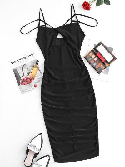 Riemchen Verdrehte Geraffte Reißverschluss Am Meisten Kopfzähne U Ausschnitt T-Shirt Kleid - Schwarz S