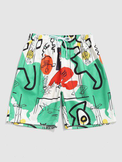 Figure Graffiti Print Shorts - Medium Aquamarine L