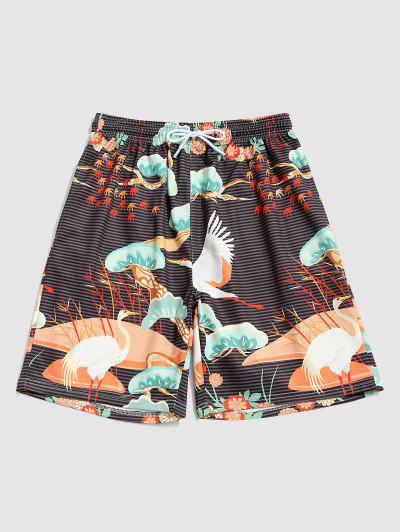 Striped Flower Flying Crane Print Vacation Shorts - Oak Brown L