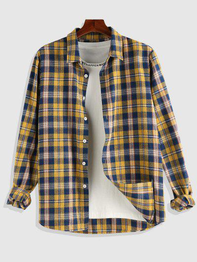 ZAFUL Plaid Pattern Long Sleeve Shirt - Deep Yellow Xl