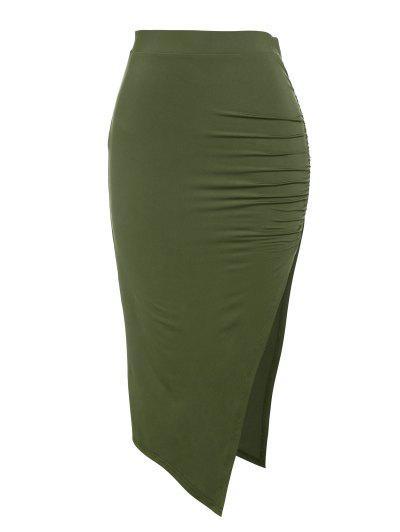 ZAFUL Ruched Thigh Split Bodycon Skirt - Deep Green L