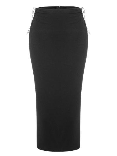 U-bar Jersey Tie Split Back Midi Skirt - Black M