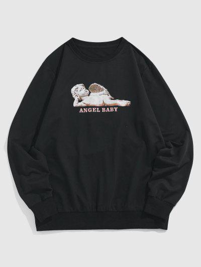ZAFUL Engel Baby Muster Sweatshirt - Schwarz L
